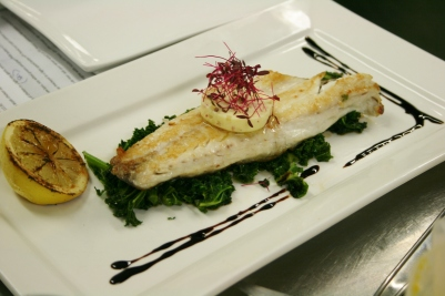 wild sea bas, wilted greens and ginger butter