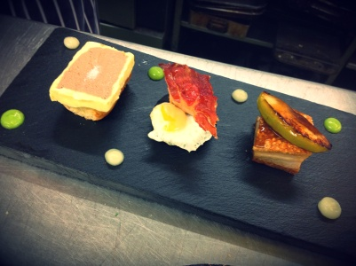 venison parfait, scallop, belly pork Starter trio