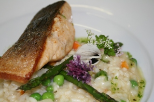 Filey Bay Sea Trout and summer risotto